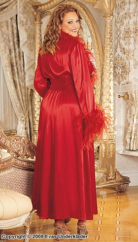 Dressing gown in ostrich feathers, plus size